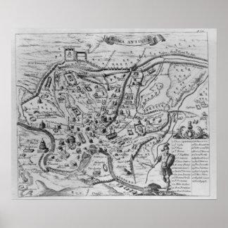 Kaart van Oud Rome Poster