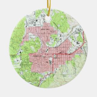 Kaart van Prescott Arizona (1973) Rond Keramisch Ornament
