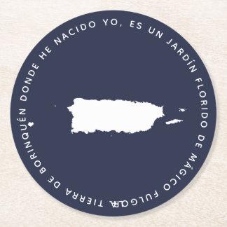 Kaart van Puerto Rico Borinquena Ronde Onderzetter