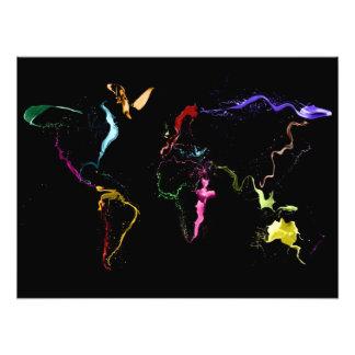 Kaart van Schilderen van de Kaart van de Wereld he Fotoafdruk