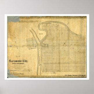 Kaart van Stad van Sacramento & West-Sacramento, Poster