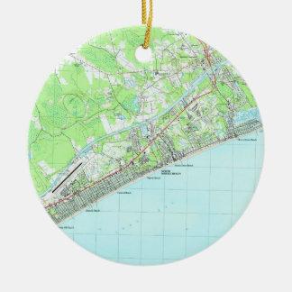 Kaart van Van het Zuid- strand van de Mirte van Rond Keramisch Ornament