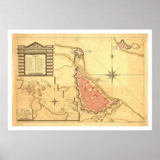 Kaart van Veracruz, Mexico door G. DE Bois 1798 Poster
