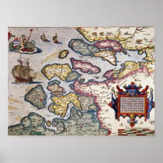 Kaart van Zeeland, c.1560 Poster
