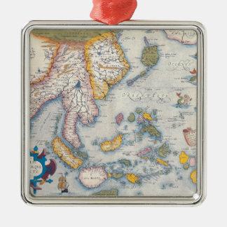 Kaart van Zuidoost-Azië 2 Zilverkleurig Vierkant Ornament