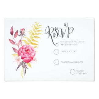 Kaarten van het Huwelijk RSVP van de Pioenen van 8,9x12,7 Uitnodiging Kaart