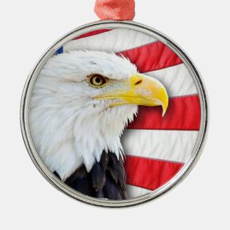 Kale Eagle en Vlag Zilverkleurig Rond Ornament