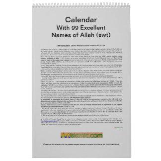 Kalender met 99 Namen van Allah (swt) - God