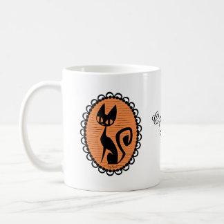 Kamee van de Kat van Halloween de Zwarte Koffiemok