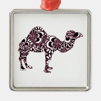 Kameel 2 zilverkleurig vierkant ornament