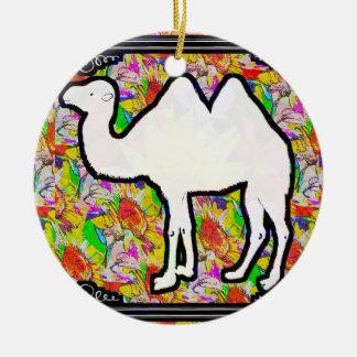 Kameel en Bloemen Rond Keramisch Ornament