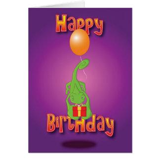 kameleon - ballon - gelukkige verjaardag kaart