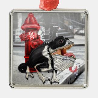 Kameleon Boston Terrier Zilverkleurig Vierkant Ornament