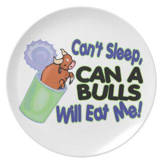 Kan niet slapen kan van Stieren zal eten me Melamine+bord