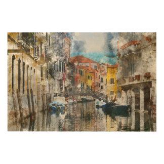 Kanalen van de Waterverf van Venetië Italië Hout Afdruk