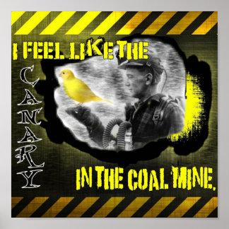 Kanarie in een kolenmijn poster