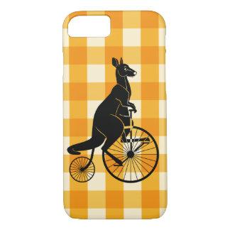 Kangoeroe die een Fiets van Farthing van de iPhone 8/7 Hoesje