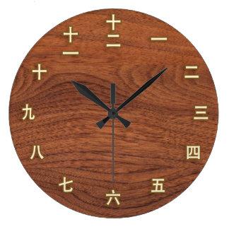 Kanji Aantallen op de Houten Klok van de Muur