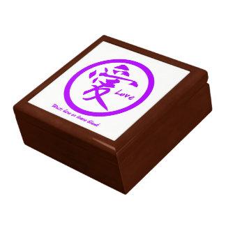 Kanji giftdozen | Paars Japans symbool voor liefde Decoratiedoosje