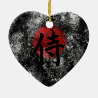 Kanji Samoeraien Grunge 2 Keramisch Hart Ornament
