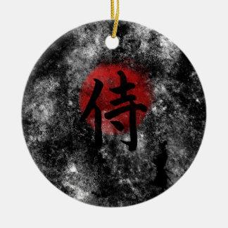 Kanji Samoeraien Grunge 2 Rond Keramisch Ornament