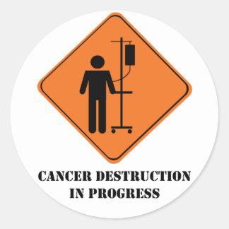 kanker vernietiging in het blad van de ronde sticker