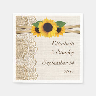 Kant en zonnebloemen op jutehuwelijk papieren servetten