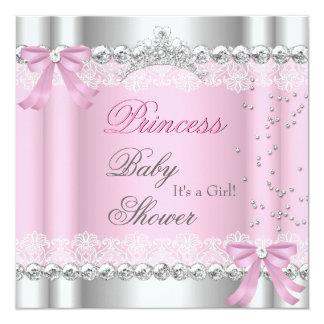 Kant van de Tiara van de Prinses van het Meisje 13,3x13,3 Vierkante Uitnodiging Kaart