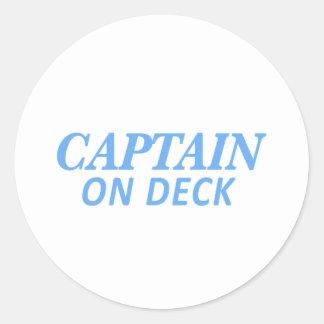 Kapitein op de Druk van het Dek Ronde Sticker