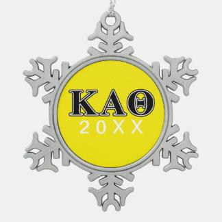 Kappa de Alpha- Zwarte Brieven van de Theta Tin Sneeuwvlok Ornament