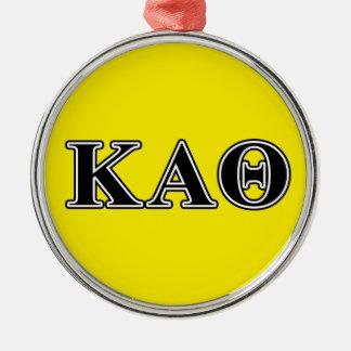 Kappa de Alpha- Zwarte Brieven van de Theta Zilverkleurig Rond Ornament