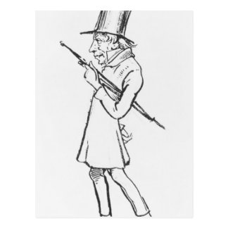 Karikatuur van Soren Aabye Kierkegaard Briefkaart