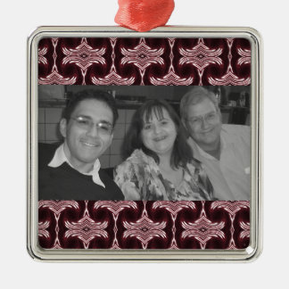 Kastanjebruin Art deco Photoframe Zilverkleurig Vierkant Ornament