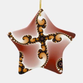 Kastanjebruin bloeien keramisch ster ornament