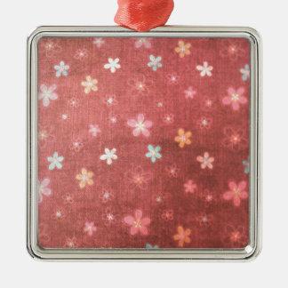 Kastanjebruin bloemenpatroon zilverkleurig vierkant ornament