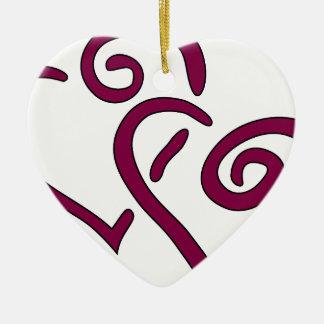 Kastanjebruin Dubbel Hart Keramisch Hart Ornament