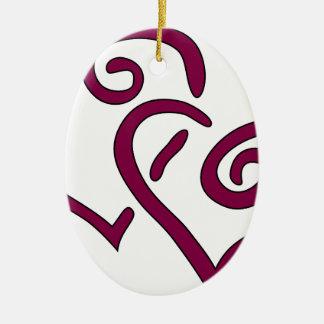 Kastanjebruin Dubbel Hart Keramisch Ovaal Ornament