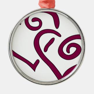 Kastanjebruin Dubbel Hart Zilverkleurig Rond Ornament