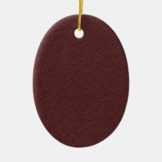 Kastanjebruin Leer Keramisch Ovaal Ornament