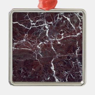 Kastanjebruin marmer zilverkleurig vierkant ornament