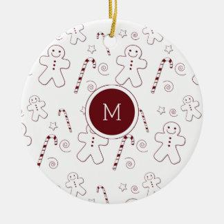 Kastanjebruin Monogram | van het Patroon van Rond Keramisch Ornament