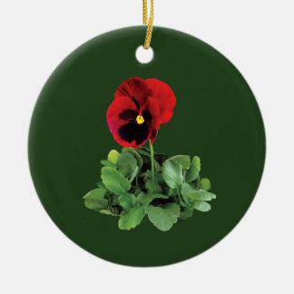 Kastanjebruin Viooltje Rond Keramisch Ornament
