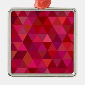 Kastanjebruine Driehoeken Zilverkleurig Vierkant Ornament