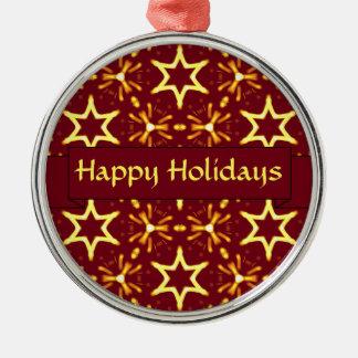 Kastanjebruine en Gouden Kerstmis of de Chanoeka Zilverkleurig Rond Ornament