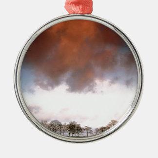 Kastanjebruine hemel zilverkleurig rond ornament
