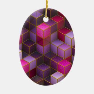 Kastanjebruine Kubussen Keramisch Ovaal Ornament