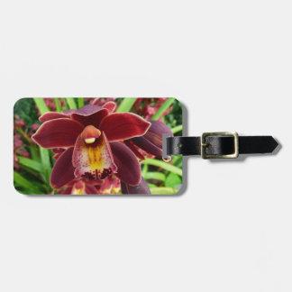 Kastanjebruine Orchideeën I Mooie Rode Bloemen Kofferlabels