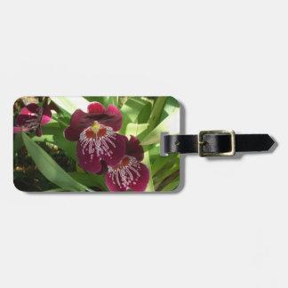 Kastanjebruine Orchideeën II Elegante Bloemen Kofferlabel