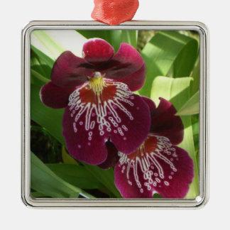 Kastanjebruine Orchideeën II Elegante Bloemen Zilverkleurig Vierkant Ornament