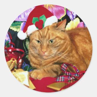 Kat die het Pet van de Kerstman dragen - Sticker